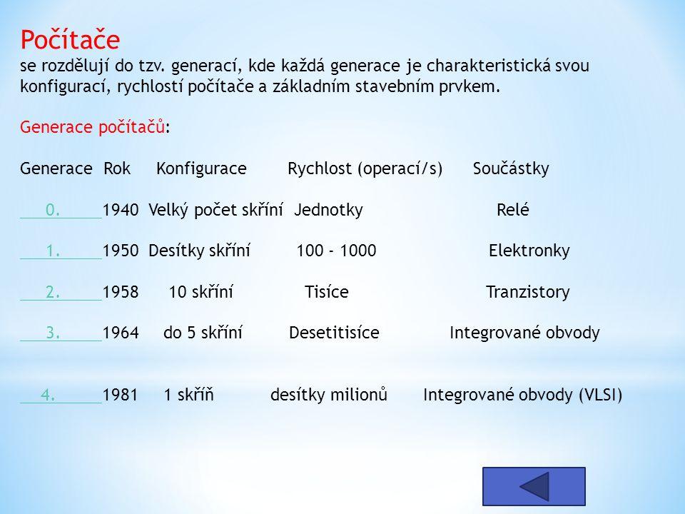 Počítače se rozdělují do tzv. generací, kde každá generace je charakteristická svou konfigurací, rychlostí počítače a základním stavebním prvkem. Gene