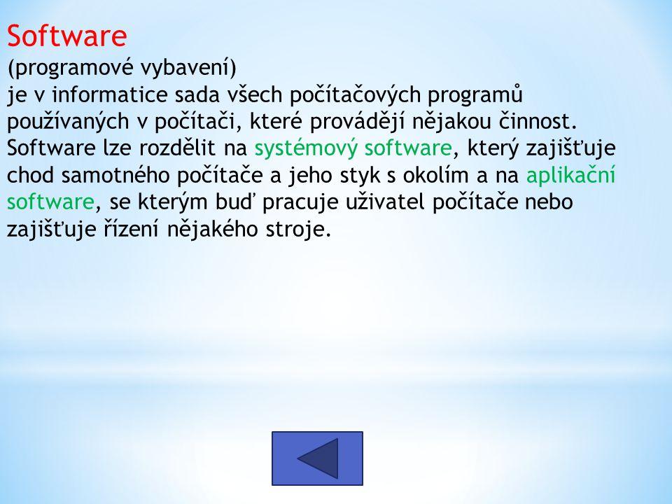 Software (programové vybavení) je v informatice sada všech počítačových programů používaných v počítači, které provádějí nějakou činnost. Software lze