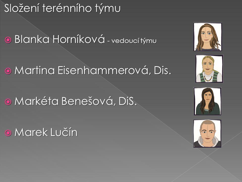 Složení terénního týmu  Blanka Horníková - vedoucí týmu  Martina Eisenhammerová, Dis.  Markéta Benešová, DiS.  Marek Lučín
