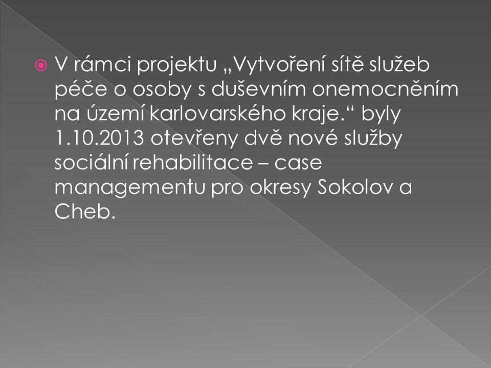 """ V rámci projektu """"Vytvoření sítě služeb péče o osoby s duševním onemocněním na území karlovarského kraje."""" byly 1.10.2013 otevřeny dvě nové služby s"""