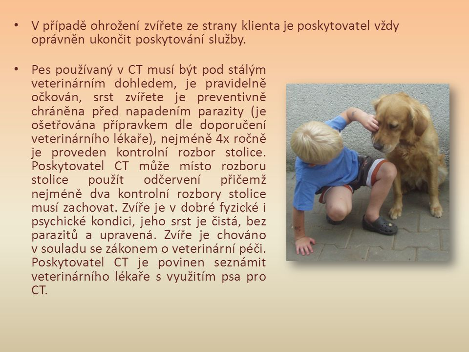 • V případě ohrožení zvířete ze strany klienta je poskytovatel vždy oprávněn ukončit poskytování služby. • Pes používaný v CT musí být pod stálým vete