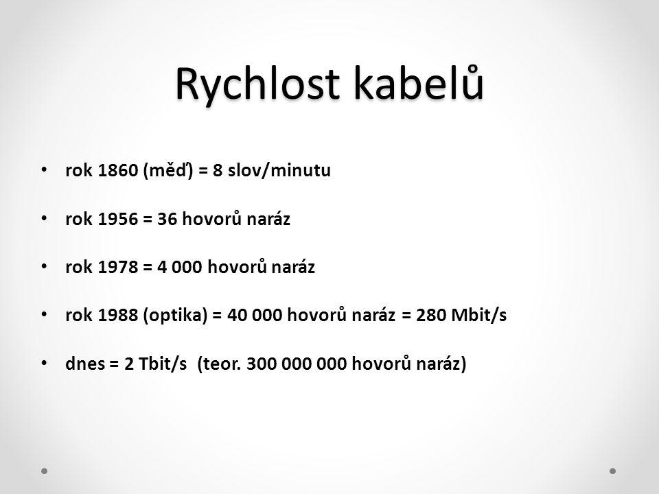 Rychlost kabelů • rok 1860 (měď) = 8 slov/minutu • rok 1956 = 36 hovorů naráz • rok 1978 = 4 000 hovorů naráz • rok 1988 (optika) = 40 000 hovorů nará
