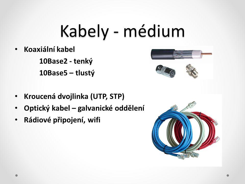 Kabely - médium • Koaxiální kabel 10Base2 - tenký 10Base5 – tlustý • Kroucená dvojlinka (UTP, STP) • Optický kabel – galvanické oddělení • Rádiové při