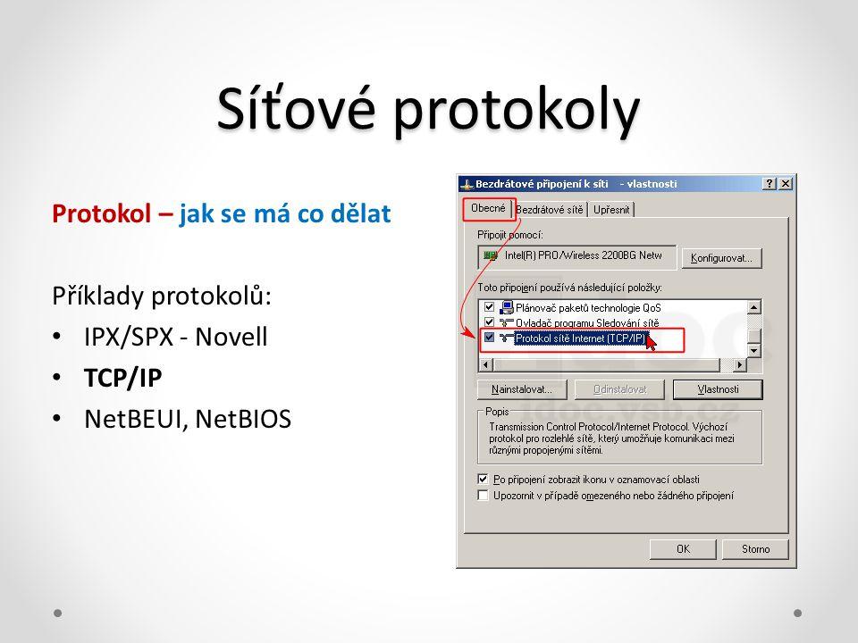 Síťové protokoly Protokol – jak se má co dělat Příklady protokolů: • IPX/SPX - Novell • TCP/IP • NetBEUI, NetBIOS