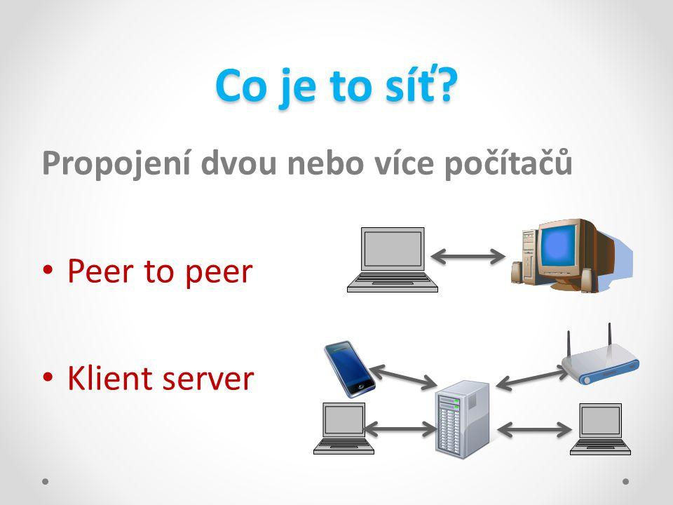 Co je to síť? Propojení dvou nebo více počítačů • Peer to peer • Klient server