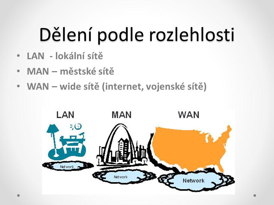 Dělení podle rozlehlosti • LAN - lokální sítě • MAN – městské sítě • WAN – wide sítě (internet, vojenské sítě)