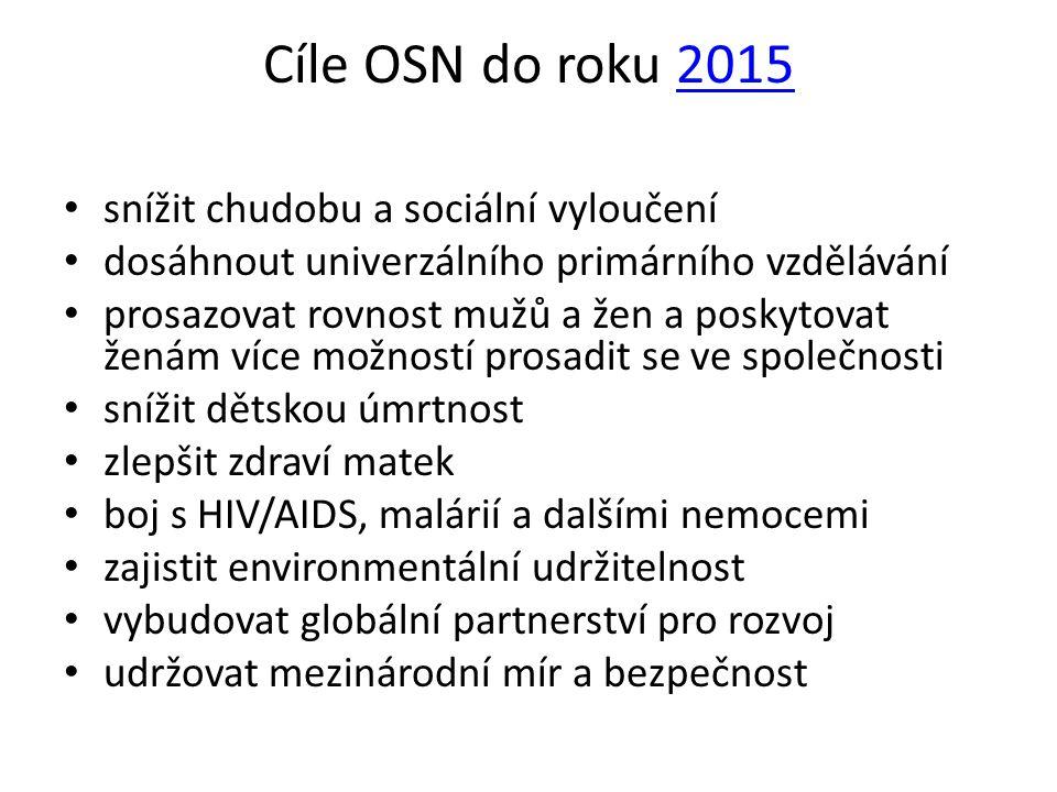 Cíle OSN do roku 20152015 • snížit chudobu a sociální vyloučení • dosáhnout univerzálního primárního vzdělávání • prosazovat rovnost mužů a žen a posk