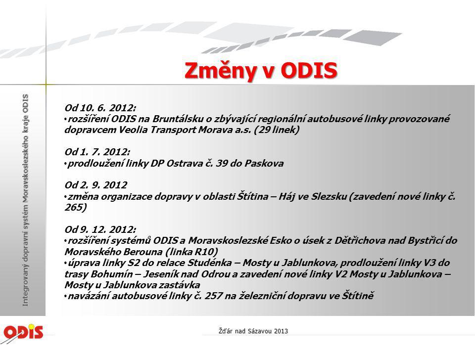 Od 10. 6. 2012: • rozšíření ODIS na Bruntálsku o zbývající regionální autobusové linky provozované dopravcem Veolia Transport Morava a.s. (29 linek) O