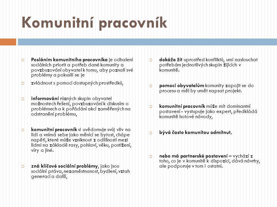 Komunitní pracovník  Posláním komunitního pracovníka je odhalení sociálních priorit a potřeb dané komunity a povzbuzování obyvatel k tomu, aby poznal