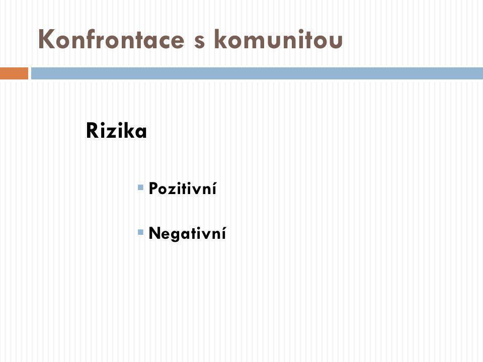Konfrontace s komunitou Rizika  Pozitivní  Negativní