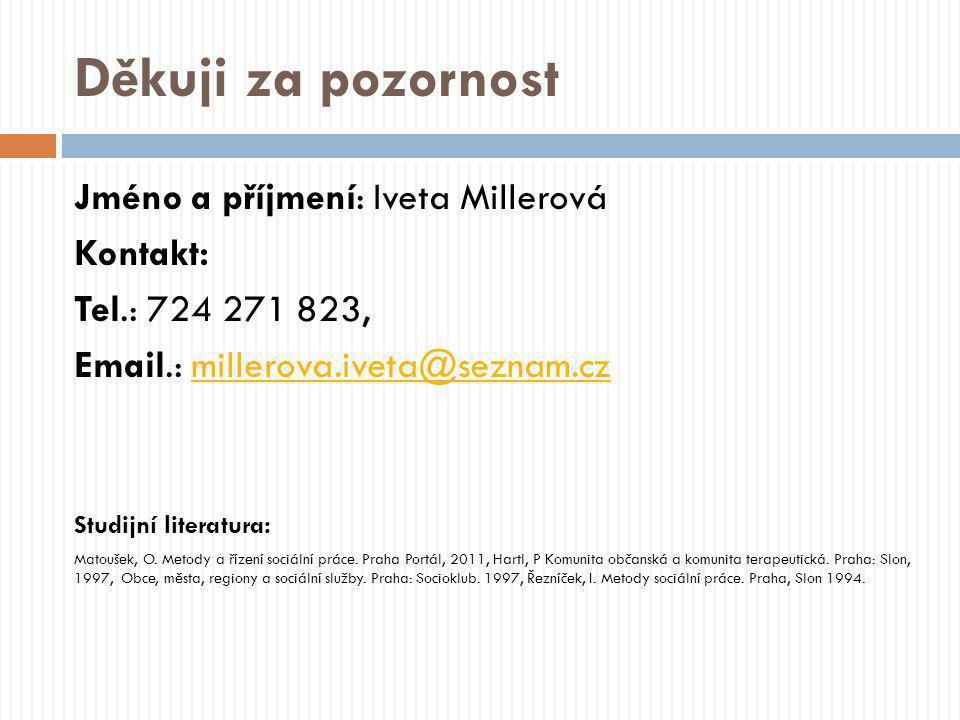 Děkuji za pozornost Jméno a příjmení: Iveta Millerová Kontakt: Tel.: 724 271 823, Email.: millerova.iveta@seznam.czmillerova.iveta@seznam.cz Studijní