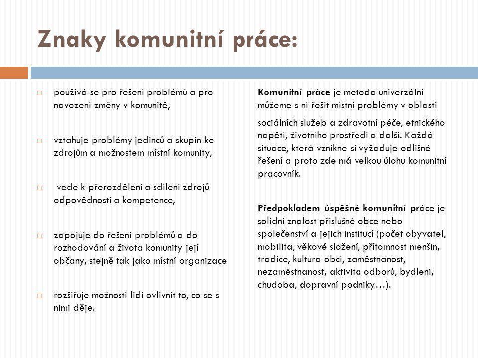 Znaky komunitní práce:  používá se pro řešení problémů a pro navození změny v komunitě,  vztahuje problémy jedinců a skupin ke zdrojům a možnostem m