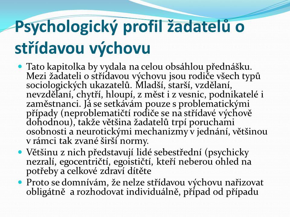 Psychologický profil žadatelů o střídavou výchovu  Tato kapitolka by vydala na celou obsáhlou přednášku. Mezi žadateli o střídavou výchovu jsou rodič
