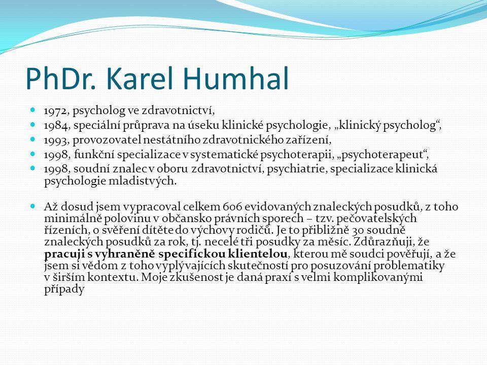 """PhDr. Karel Humhal  1972, psycholog ve zdravotnictví,  1984, speciální průprava na úseku klinické psychologie, """"klinický psycholog"""",  1993, provozo"""