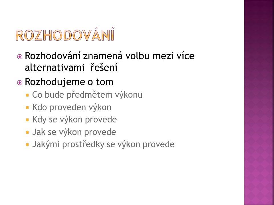  Ve veřejné správě rozhoduje management (vedoucí pracovníci)  Ministr  Tajemník  Vedoucí referátu  Vedoucí odboru  Vedoucí oddělení  Vedoucí komise  Předseda komise