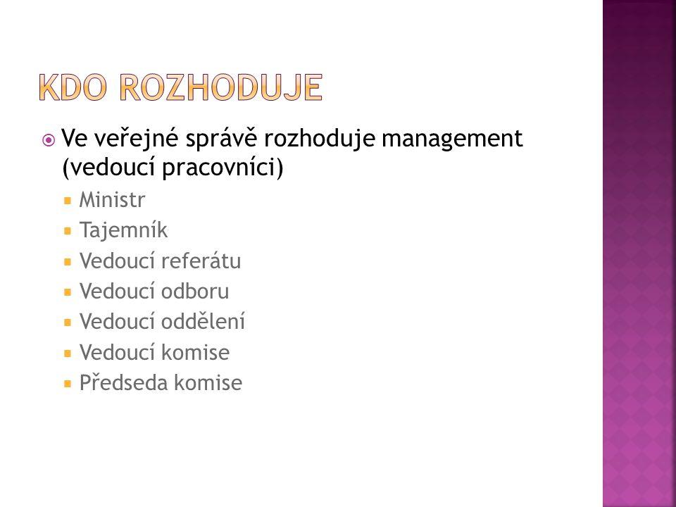  Ve veřejné správě rozhoduje management (vedoucí pracovníci)  Ministr  Tajemník  Vedoucí referátu  Vedoucí odboru  Vedoucí oddělení  Vedoucí ko