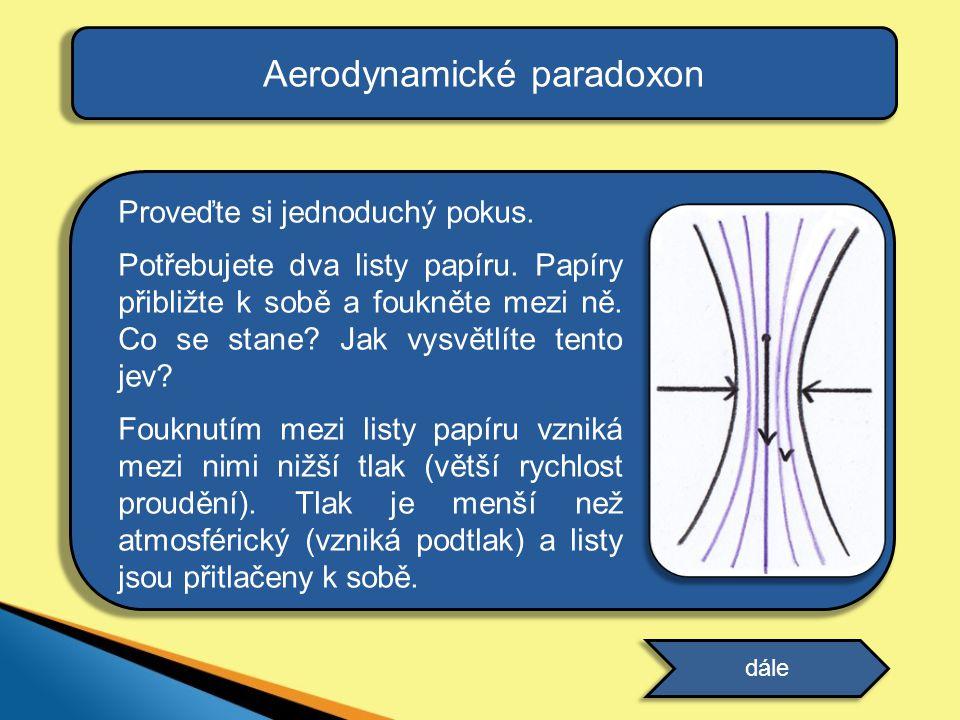 Aerodynamické paradoxon Proveďte si jednoduchý pokus. Potřebujete dva listy papíru. Papíry přibližte k sobě a foukněte mezi ně. Co se stane? Jak vysvě