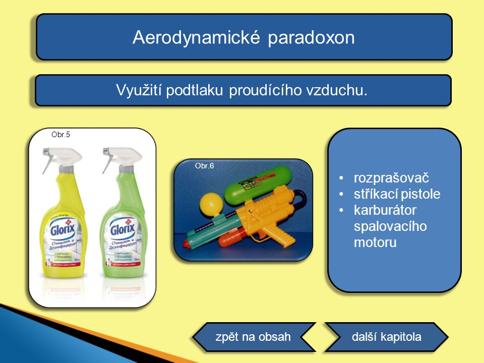 Aerodynamické paradoxon Využití podtlaku proudícího vzduchu. •rozprašovač •stříkací pistole •karburátor spalovacího motoru další kapitolazpět na obsah