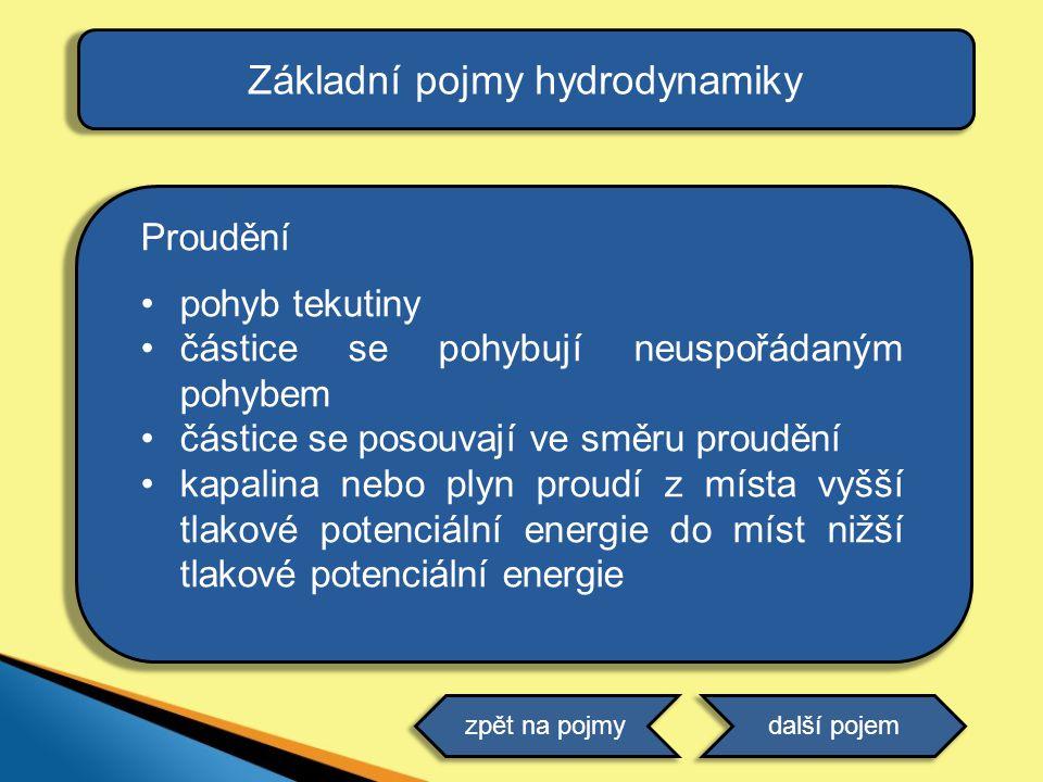Proudění •pohyb tekutiny •částice se pohybují neuspořádaným pohybem •částice se posouvají ve směru proudění •kapalina nebo plyn proudí z místa vyšší t