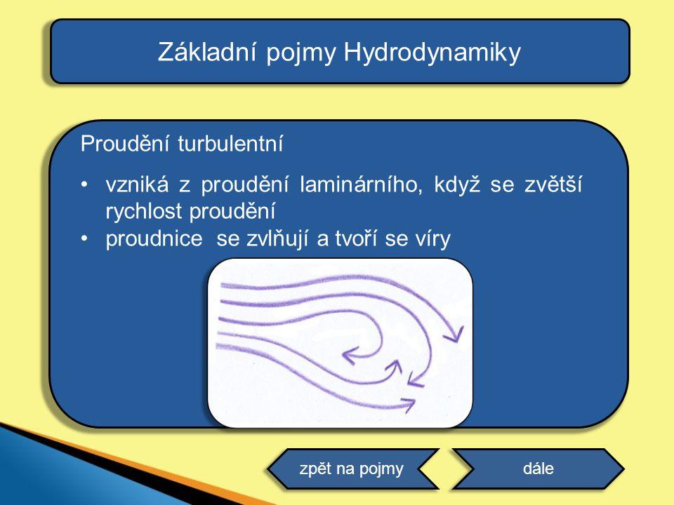 Základní pojmy Hydrodynamiky Proudění turbulentní •vzniká z proudění laminárního, když se zvětší rychlost proudění •proudnice se zvlňují a tvoří se ví