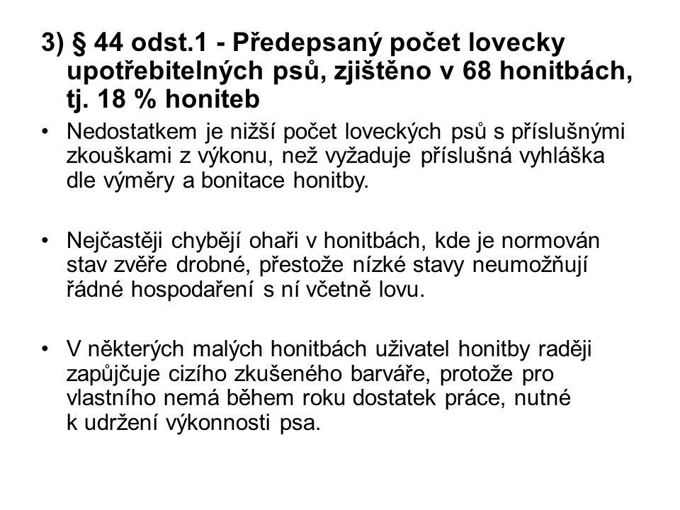 4) § 61 odst.2 – Poměr pohlaví v chovu spárkaté zvěře, zjištěno v 51 honitbách, tj.