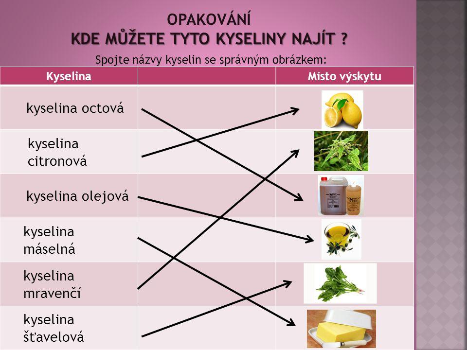 KyselinaMísto výskytu kyselina octová kyselina citronová kyselina olejová kyselina máselná kyselina mravenčí kyselina šťavelová 15 Spojte názvy kyselin se správným obrázkem: