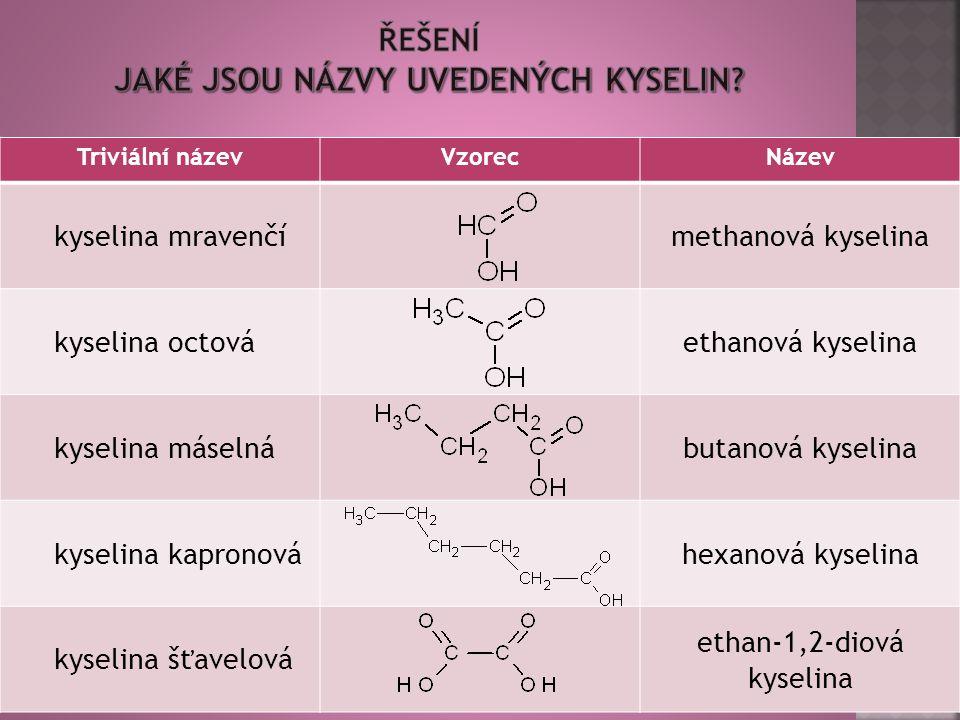 16 Triviální názevVzorecNázev kyselina mravenčímethanová kyselina kyselina octováethanová kyselina kyselina máselnábutanová kyselina kyselina kapronováhexanová kyselina kyselina šťavelová ethan-1,2-diová kyselina