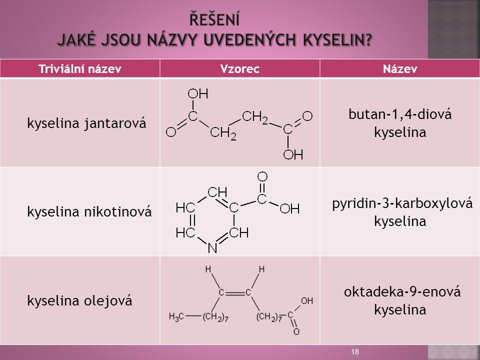 18 Triviální názevVzorecNázev kyselina jantarová butan-1,4-diová kyselina kyselina nikotinová pyridin-3-karboxylová kyselina kyselina olejová oktadeka-9-enová kyselina