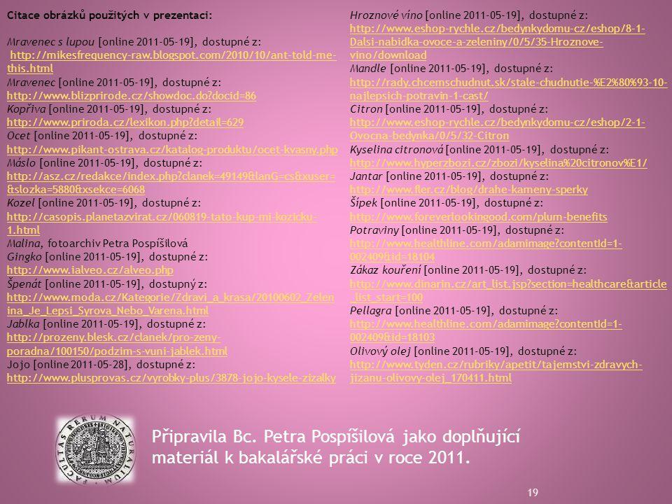 Připravila Bc.Petra Pospíšilová jako doplňující materiál k bakalářské práci v roce 2011.