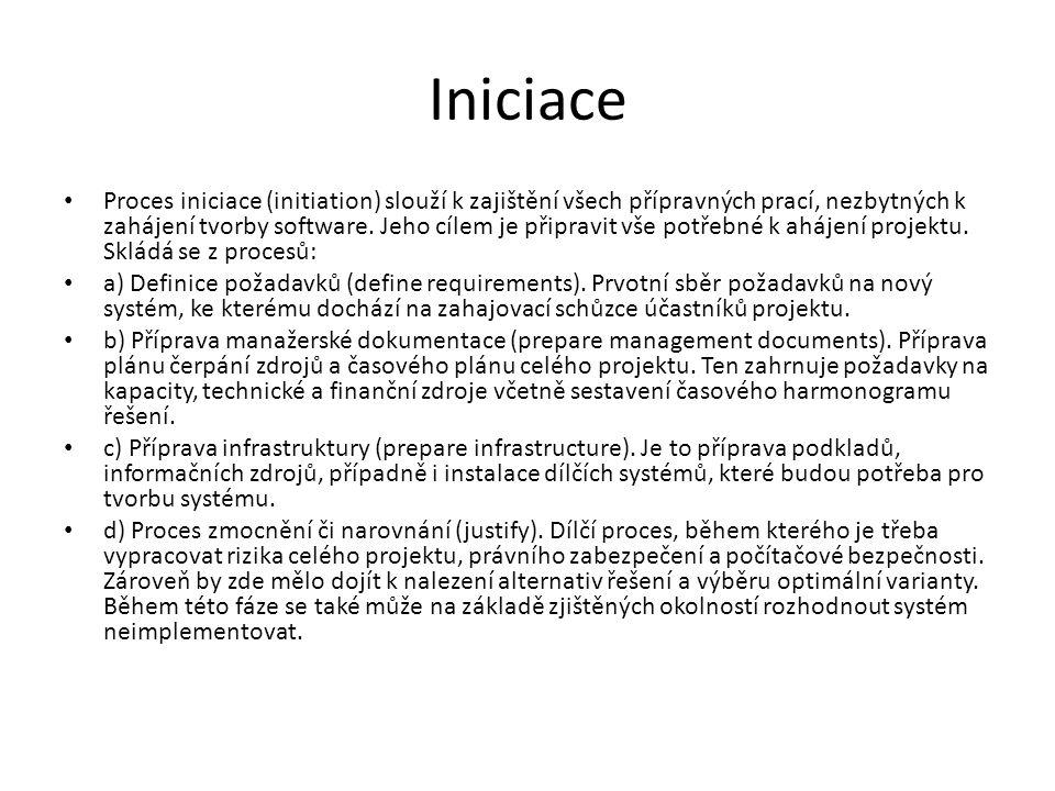 Iniciace • Proces iniciace (initiation) slouží k zajištění všech přípravných prací, nezbytných k zahájení tvorby software.