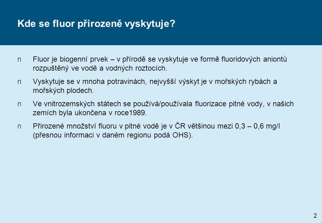 Kde se fluor přirozeně vyskytuje? nFluor je biogenní prvek – v přírodě se vyskytuje ve formě fluoridových aniontů rozpuštěný ve vodě a vodných roztocí