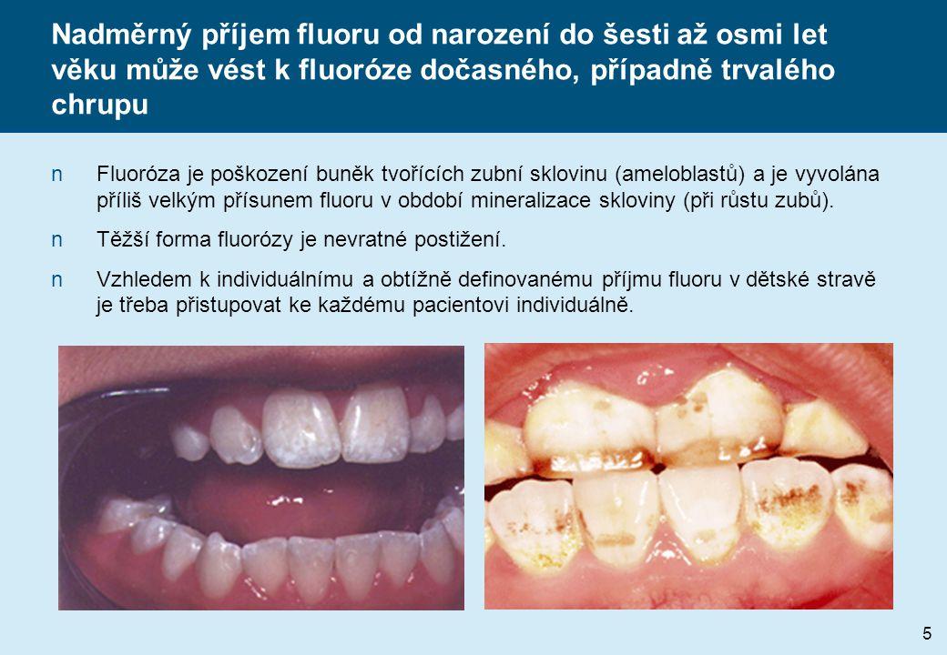 Nadměrný příjem fluoru od narození do šesti až osmi let věku může vést k fluoróze dočasného, případně trvalého chrupu nFluoróza je poškození buněk tvořících zubní sklovinu (ameloblastů) a je vyvolána příliš velkým přísunem fluoru v období mineralizace skloviny (při růstu zubů).