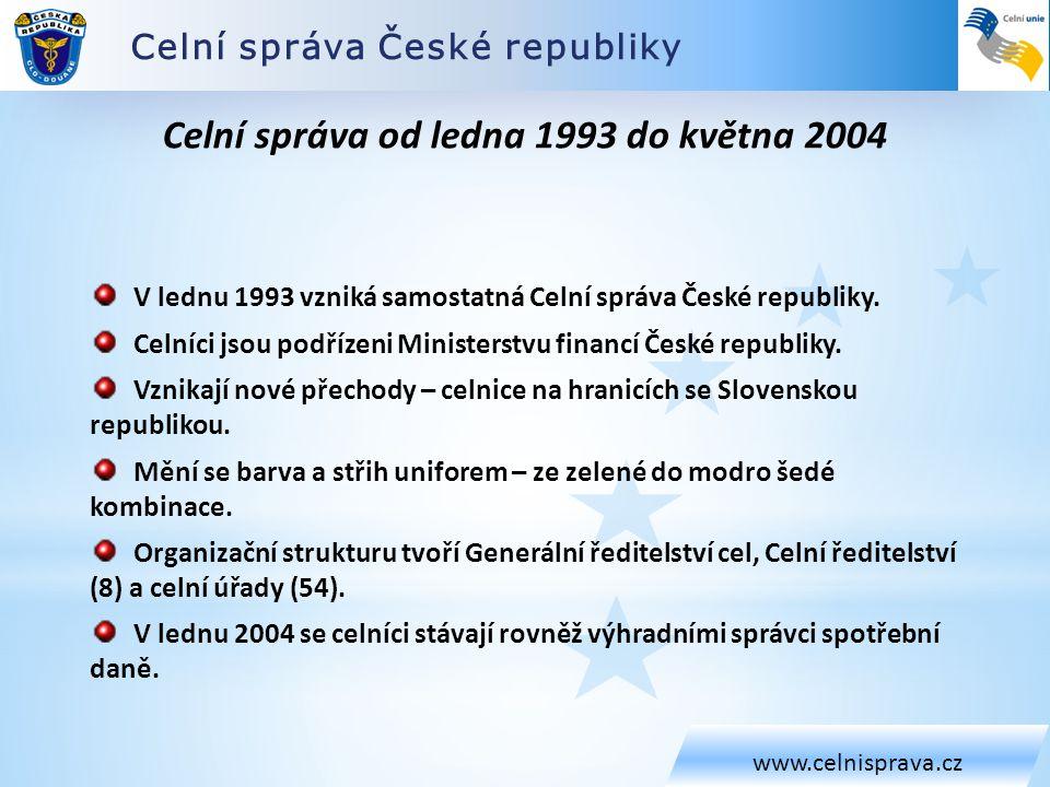 Celní správa České republiky www.celnisprava.cz Celní správa od ledna 1993 do května 2004 V lednu 1993 vzniká samostatná Celní správa České republiky.
