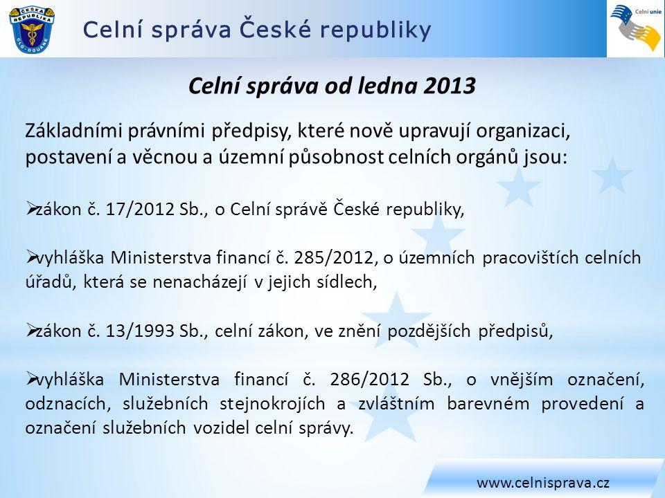 Celní správa České republiky www.celnisprava.cz Celní správa od ledna 2013 Základními právními předpisy, které nově upravují organizaci, postavení a v