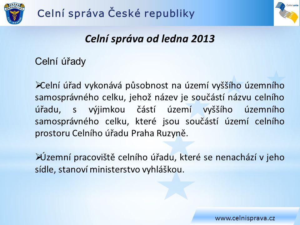 Celní správa České republiky www.celnisprava.cz Celní správa od ledna 2013 Celní úřady  Celní úřad vykonává působnost na území vyššího územního samos