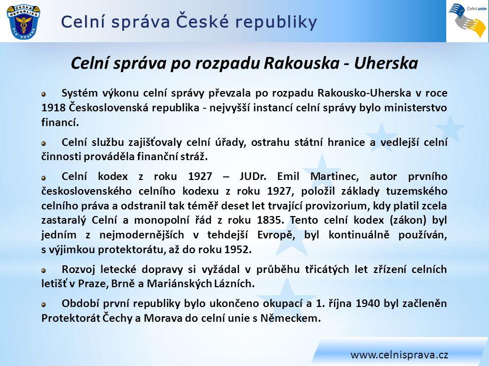 Celní správa České republiky www.celnisprava.cz Celní správa po rozpadu Rakouska - Uherska Systém výkonu celní správy převzala po rozpadu Rakousko-Uhe