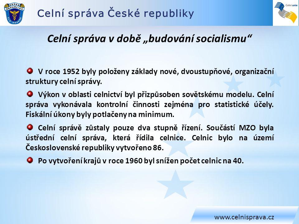 Celní správa České republiky www.celnisprava.cz V roce 1952 byly položeny základy nové, dvoustupňové, organizační struktury celní správy. Výkon v obla