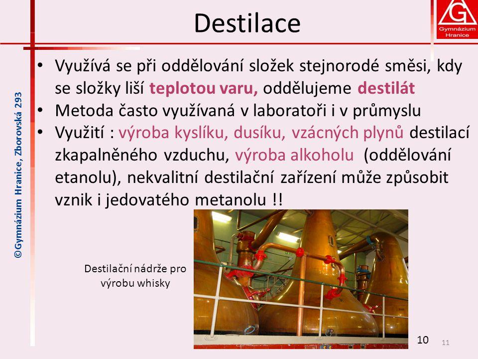 Destilace • Využívá se při oddělování složek stejnorodé směsi, kdy se složky liší teplotou varu, oddělujeme destilát • Metoda často využívaná v labora