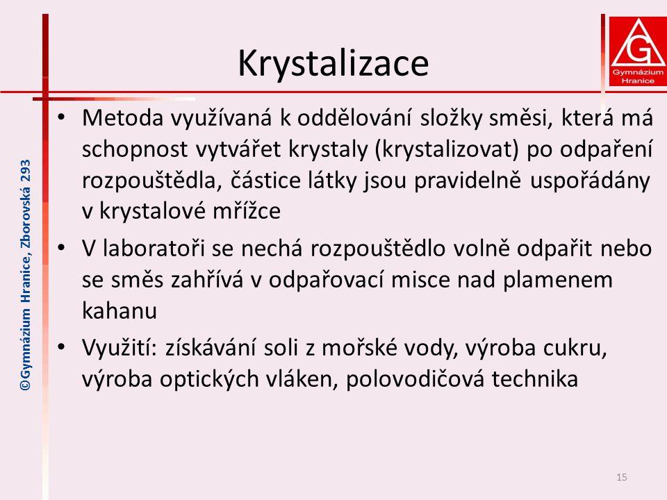 Krystalizace • Metoda využívaná k oddělování složky směsi, která má schopnost vytvářet krystaly (krystalizovat) po odpaření rozpouštědla, částice látk