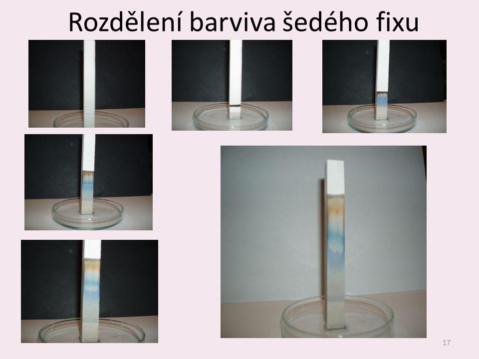 Rozdělení barviva šedého fixu 17
