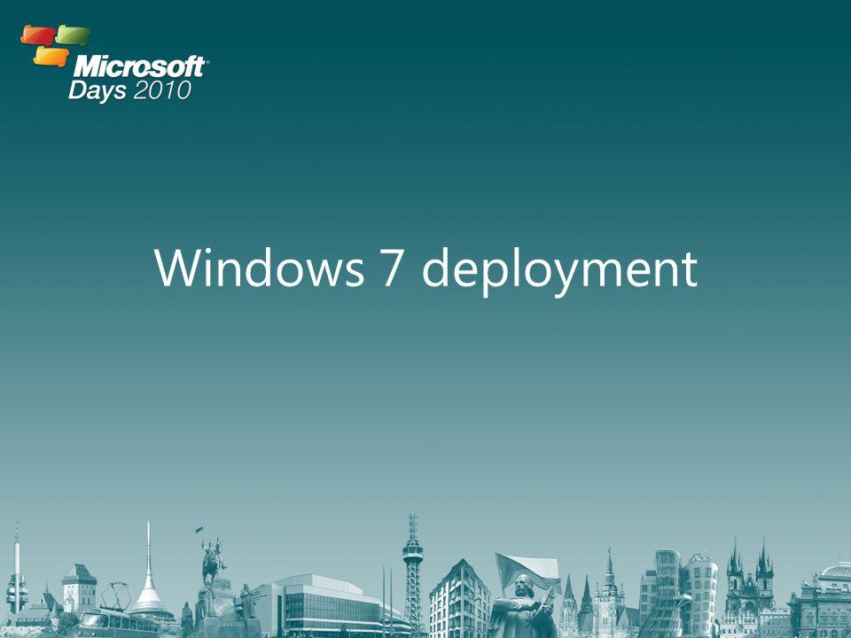 • Microsoft Deployment Toolkit – Nástroj pro řízení procesu nejenom instalace – Stažení zdarma – Využívá • Windows Deployment Services • Windows AIK • Windows SIM Řízení procesu instalace Instalace a migrace operačního systému