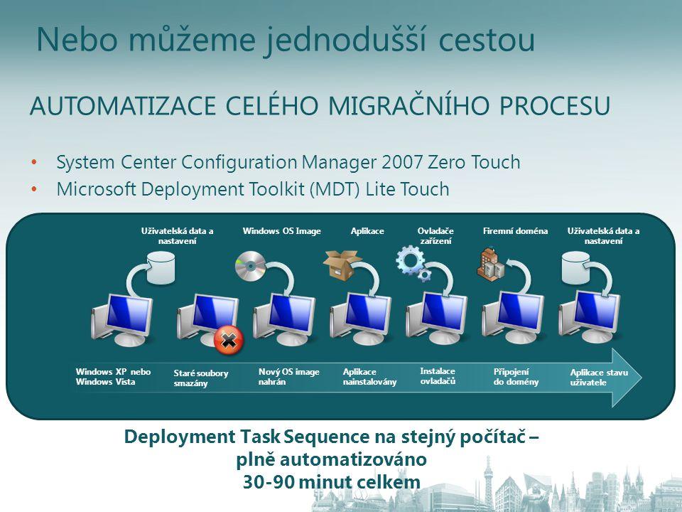 Nebo můžeme jednodušší cestou • System Center Configuration Manager 2007 Zero Touch • Microsoft Deployment Toolkit (MDT) Lite Touch Windows XP nebo Wi