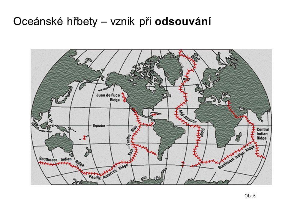 Oceánské hřbety – vznik při odsouvání Obr.5