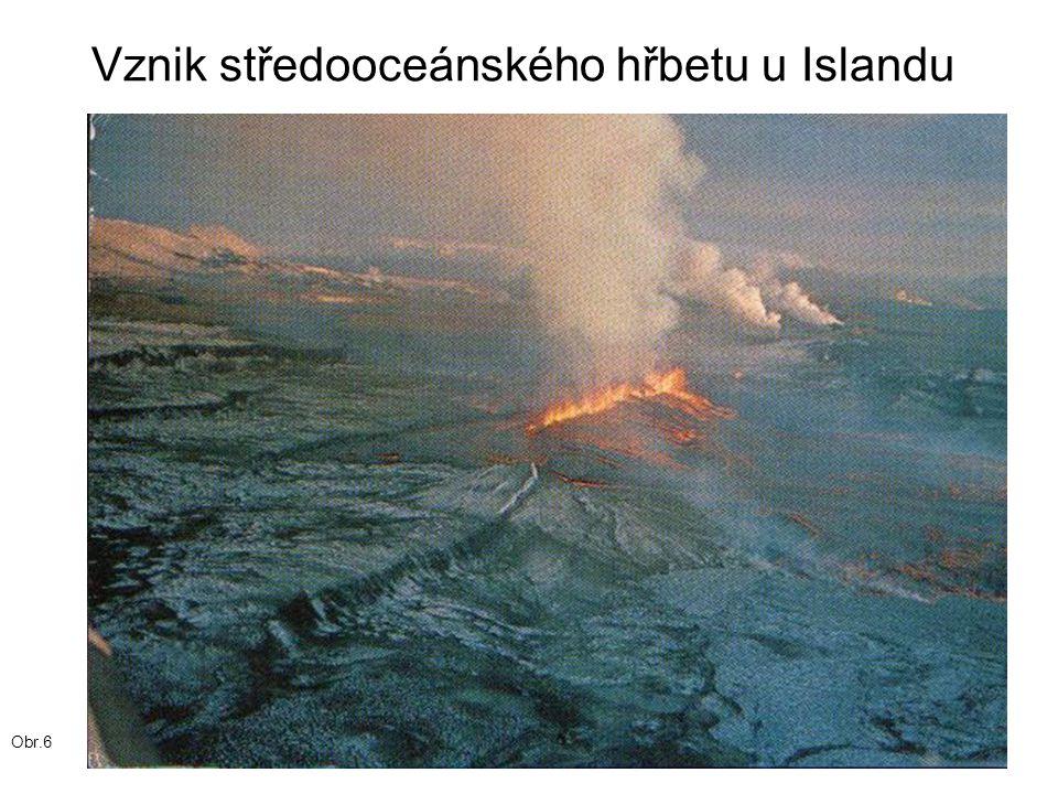 Vznik středooceánského hřbetu u Islandu Obr.6