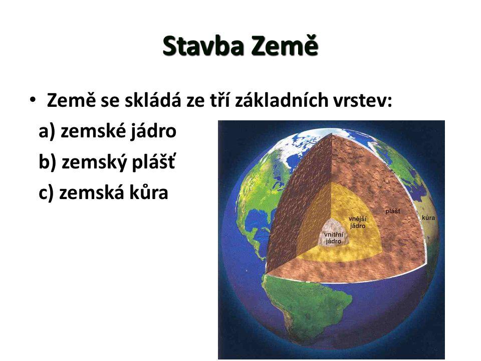 StavbaZemě Stavba Země • Země se skládá ze tří základních vrstev: a) zemské jádro b) zemský plášť c) zemská kůra
