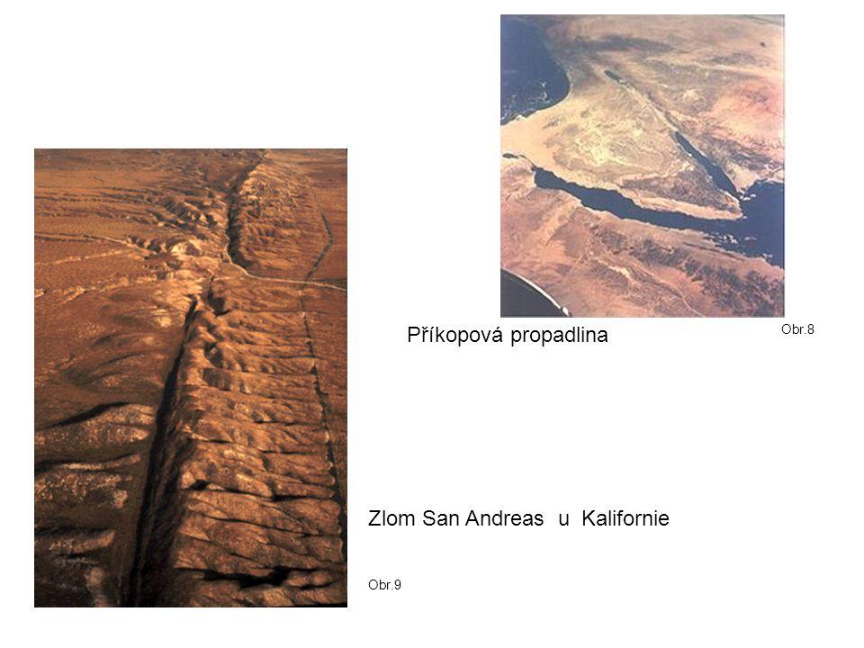 Zlom San Andreas u Kalifornie Příkopová propadlina Obr.8 Obr.9