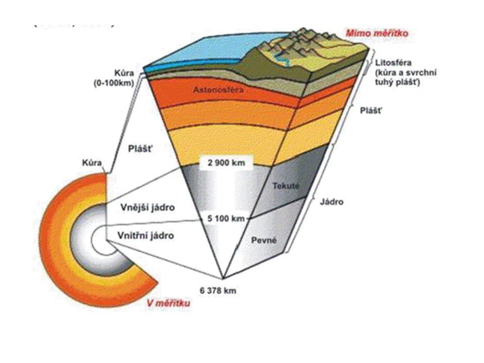 a) Jádro • Dělíme jej na dvě části: – vnější jádro  je v polotekutém stavu – vnitřní jádro  je pevné • Jádro je velice těžké, protože je tvořeno téměř celé z kovů, a má vysokou teplotu (3000  C).