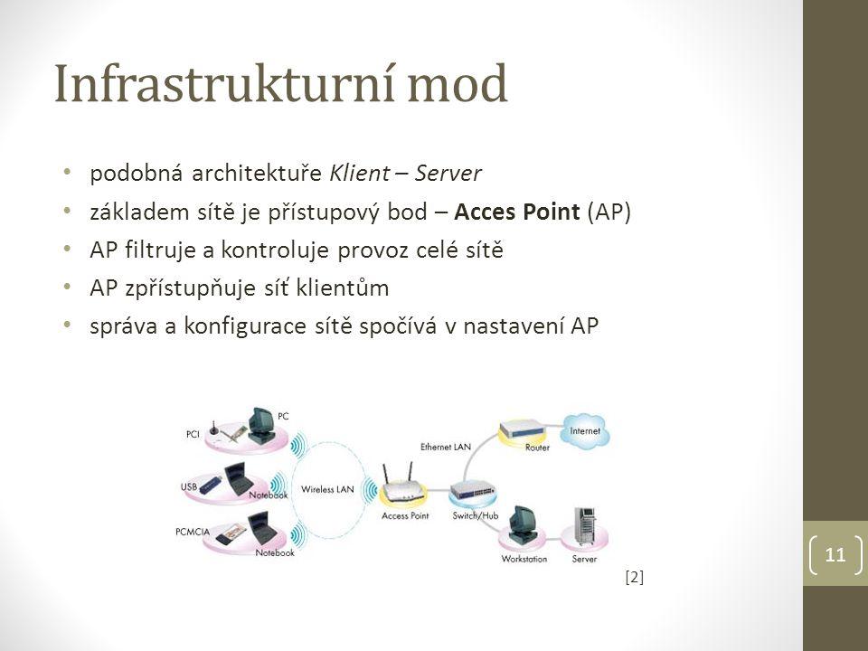 Infrastrukturní mod • podobná architektuře Klient – Server • základem sítě je přístupový bod – Acces Point (AP) • AP filtruje a kontroluje provoz celé sítě • AP zpřístupňuje síť klientům • správa a konfigurace sítě spočívá v nastavení AP [2][2] 11