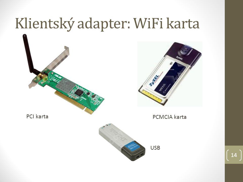Klientský adapter: WiFi karta PCMCIA karta PCI karta USB 14