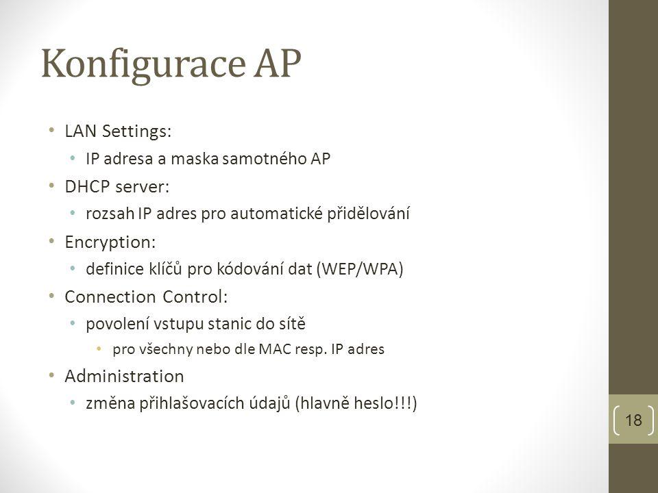 Konfigurace AP • LAN Settings: • IP adresa a maska samotného AP • DHCP server: • rozsah IP adres pro automatické přidělování • Encryption: • definice klíčů pro kódování dat (WEP/WPA) • Connection Control: • povolení vstupu stanic do sítě • pro všechny nebo dle MAC resp.
